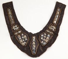 Decorative beaded collar - brown with rhinestones - dimensions 23 cm x 26 cm