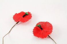 Poppy flower - red - dimensions 8 cm x 3.5 cm