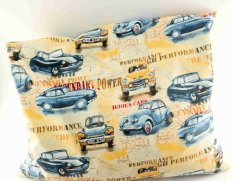 Buckwheat pillow - yellow with cars - dimensions 35 cm x 28 cm