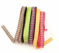 Checkered ribbons - orange, burgundy, green, brown, red - width 1 cm