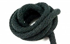 Clothing cotton cord - black - diameter 0.9 cm