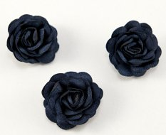 Sew-on satin flower - dark blue - diameter 3 cm