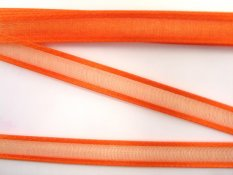 Chiffon organza ribbon with satin edges - orange - width 1 cm