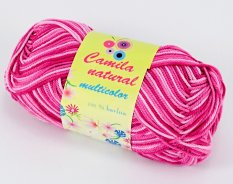 Yarn Camila natural multicolor -  pink- color number 9009