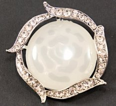 Clothing brooch with rhinestones and transparent center - transparent, silver - diameter 4.2 cm