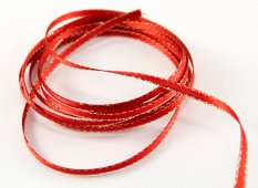 Ribbon with gold edge - red, gold- width 0,3 cm