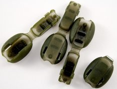 Plastic cord end - army green - pulling hole diameter 0,5 cm