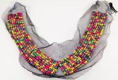 Decorative collar - colored wooden beads - dimensions 30 cm x 43 cm