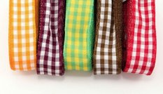 Checkered ribbons - orange, burgundy, green, brown, red - width 2.5 cm