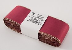 Taffeta ribbons with gold edge - burgundy, gold - width 0.9 cm - 4 cm