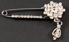 Clothing brooch with clear crystal - black, silver - size 5.5 cm x 4 cm