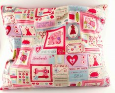 Buckwheat pillow - pink patchwork - dimensions 35 cm x 28 cm