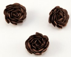 Sew-on satin flower - brown - diameter 3 cm
