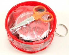 Travel set of sewing supplies in a plastic bag