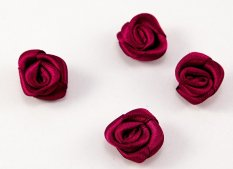 Sew-on satin flower - burgundy - diameter 1.5 cm