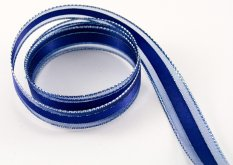 Wired ribbon - blue, silver - width 1.5 cm