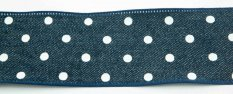 Jeans ribbon with polka dots - blue, white - width 4 cm