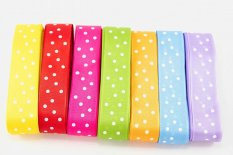 Polka dot ribbons - yellow, red, pink, green, orange, light blue, purple - width 2.5 cm