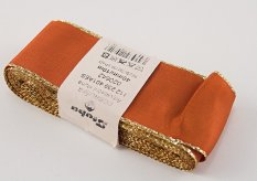 Taffeta ribbons with gold edge - brown, gold - width 0.6 cm - 4 cm