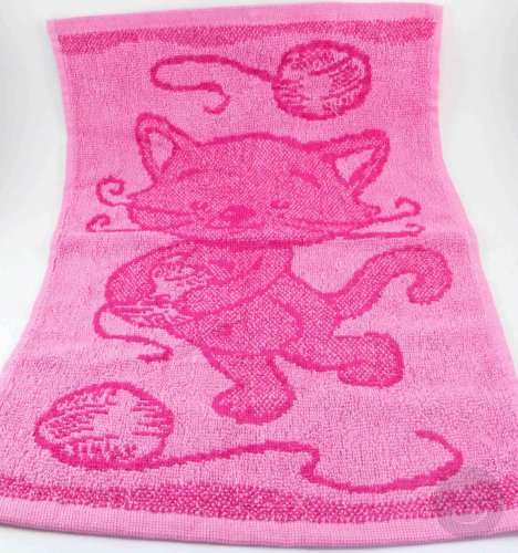 Baby pink towel - kitty