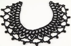 Decorative collar with plastic beads - black - dimensions 24 cm x 25 cm