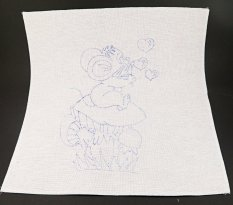 Embroidery pattern for children - mouse with a bubble blower - dimensions 35 cm x 35 cm