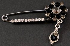 Clothing brooch with black crystal - black, silver - size 5.5 cm x 4 cm