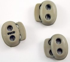 Plastic flat cord lock - grey, brown - pulling hole diameter 0.4 cm