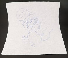 Embroidery pattern for children - mouse with a ball - dimensions 35 cm x 35 cm