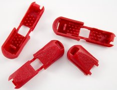 Plastic cord end - red - pulling hole diameter 0,5 cm