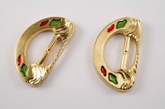 Plastic clothing buckle - gold, green, red - pulling hole width 3 cm - dimensions 6,3 cm x 3,6 cm