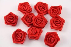 Sew-on satin flower - red - diameter 2.2 cm