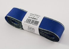 Taffeta ribbons with silver edge - blue, silver - width 0.6 cm - 4 cm