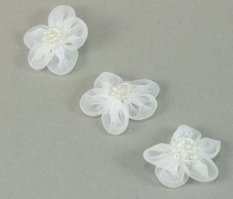 Sew-on monofilament flower with beads - white - diameter 3 cm