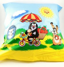 Mole on a bike - cushion cover with zipper