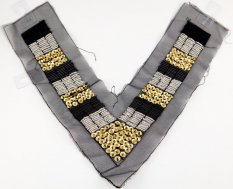 Decorative beaded collar with sequins - gold, black, silver - dimensions 39 cm x 23 cm