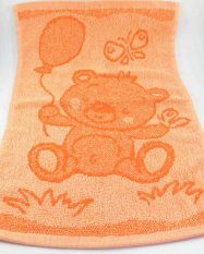 Baby orange towel - teddy bear