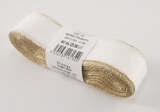 Taffeta ribbons with gold edge - white, gold - width 0.6 cm - 2,5 cm