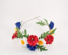 Richly decorated head wreath with flowers - diameters 50 cm x 6.5 cm