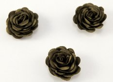 Sew-on satin flower - khaki - diameter 3 cm