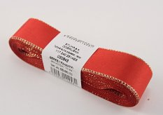 Taffeta ribbons with gold edge - red, gold - width 0.6 cm - 2,5 cm