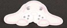 Iron-on patch - Lying dog - blue, pink - dimensions 8 cm x 5,5 cm