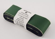 Taffeta ribbons with gold edge - dark green, gold - width 0.6 cm - 4 cm