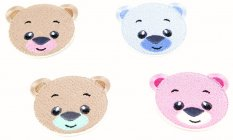 Iron-on patch - Teddy bear - brown, turquoise, pink, light blue - dimensions 6 cm x 7 cm