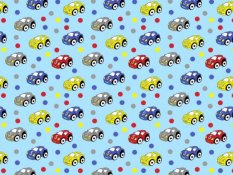 Cotton canvas - cars on a blue background - width 140 cm
