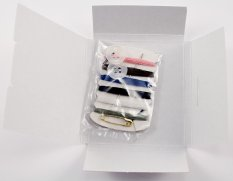 Pocket sewing kit - 6 threads, needle, 2 buttons and safety pin