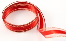 Wired ribbon - red, silver - width 1.5 cm
