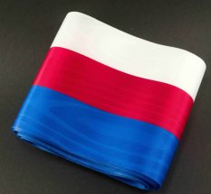 Tricolor - taffeta ribbons - red, blue, white - width 1 cm - 10 cm
