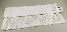 Women's evening gloves - white lace - length 35 cm